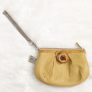 Brighton Yellow Leather Expandable Wristlet Clutch